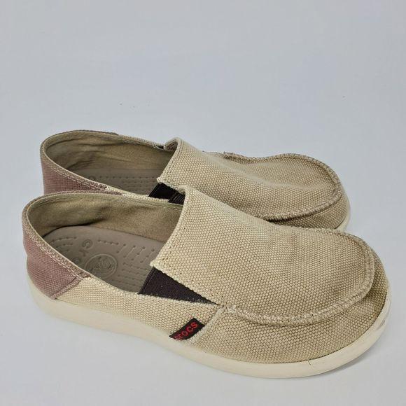 CROCS Shoes | Slip On Tan Canvas Boys